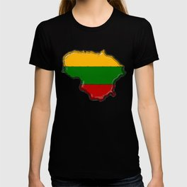 Lithuania Map with Lithuanian Flag T-shirt