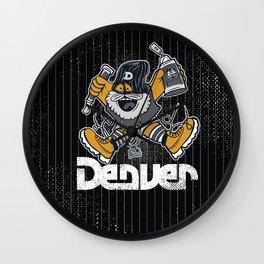 Denver Mascot Royal Stain Wall Clock