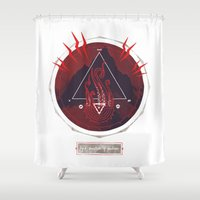 lovecraft Shower Curtains featuring Mountain of Madness (red) by Hector Mansilla