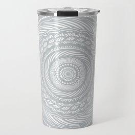 Spiral Mandala Detailed Eclectic Ethnic Spiritual Minimalism Minimalist Design (Light Cool Gray) Travel Mug