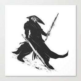 Samurai skull - japanese evil - black and white - fighter illustration - grim reaper cartoon Canvas Print