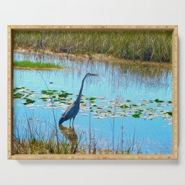Blue Heron in the Glades Serving Tray