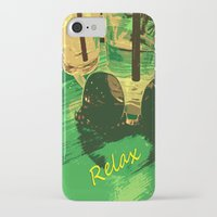 relax iPhone & iPod Cases featuring Relax by Geni