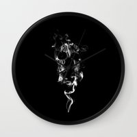 smoking Wall Clocks featuring Smoking by Ethrinity