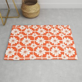Flower white and orage colorful pattern  Rug