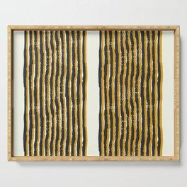 Zen Stripe Block Print Mustard Serving Tray