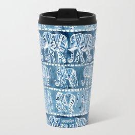 ELEPHANT SAFARI Tribal Indigo Ikat Pattern Travel Mug