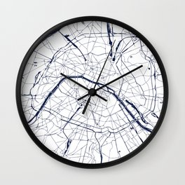 Paris France Minimal Street Map - Navy Blue and White Wall Clock
