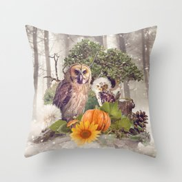 Floral Forest Owls Throw Pillow