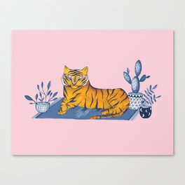 Tiger on rug Canvas Print