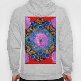 MONARCH BUTTERFLIES & ROSES  PEACOCK ART & RED ABSTRACT Hoody