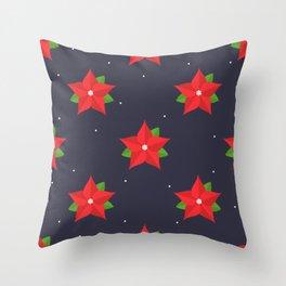 Poinsettia Christmas Pattern Throw Pillow
