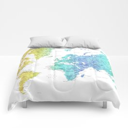 "Rainbow gradient watercolor world map with cities ""Maxwell"" - SIZES LARGE & XL ONLY Comforters"