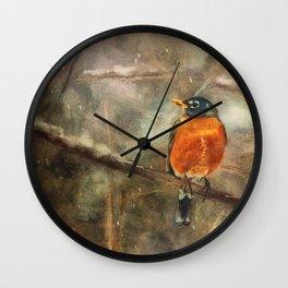 American Robin In The Snow Wall Clock