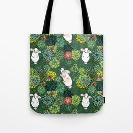 Rabbits in a Succulent Garden Tote Bag