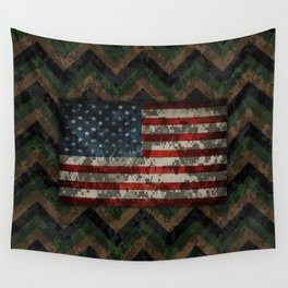 Green and Brown Military Digital Camo Pattern with American Flag Wall Tapestry