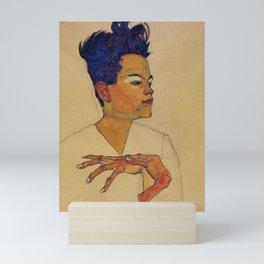 SELF PORTRAIT WITH HANDS ON CHEST - EGON SCHIELE Mini Art Print