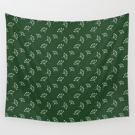 Dark Green And White Queen Anne's Lace pattern Wall Tapestry