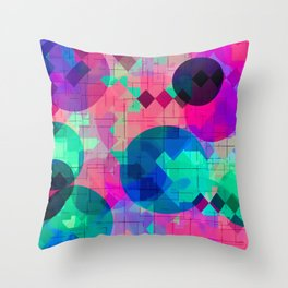 geometric square pixel and circle pattern abstract in pink blue green Throw Pillow