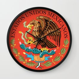 Close up of the Seal from the flag of Mexico on Adobe red background Wall Clock