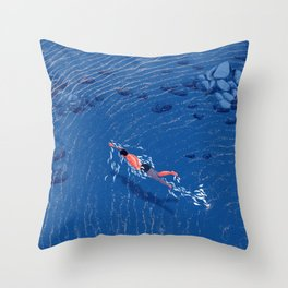 Swimming alone in the sea at night Throw Pillow