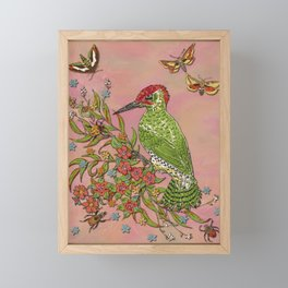 Vintage Woodpecker Framed Mini Art Print