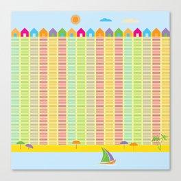 Beach cabins pattern stripes Canvas Print