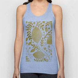 Branches and leaves - yellow Unisex Tank Top