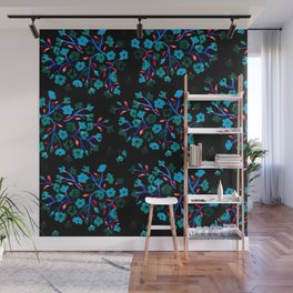 Blue Blossoms on Black Wall Mural