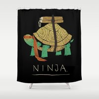 ninja turtle Shower Curtains featuring ninja - orange by Louis Roskosch