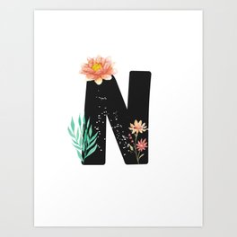Letter N - Botanical English Alphabet, Name Initial Art Print