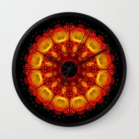 phoenix Wall Clocks featuring Phoenix by Mr. Pattern Man