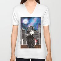 cityscape V-neck T-shirts featuring Cityscape by Toa's Wildscape
