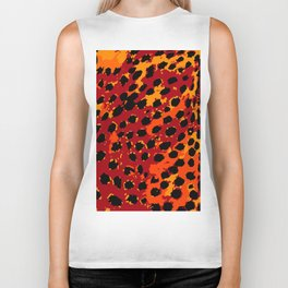 Cheetah Spots in Red, Orange and Yellow Biker Tank