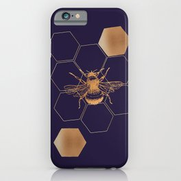 Gold foil honey bee iPhone Case