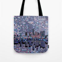 austin Tote Bags featuring austin texas city skyline by Bekim ART