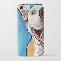 pit bull iPhone & iPod Cases featuring Smiling Pit Bull  by WOOF Factory
