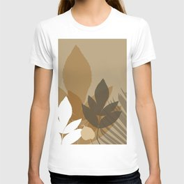 Silhouette leaves in brown and beige T-shirt
