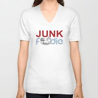 junk food V-neck T-shirts featuring I HEART Junk Food by HemantS