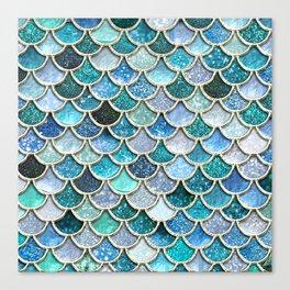 Multicolor Aqua Mermaid Scales - Beautiful Abstract Glitter Pattern Canvas Print