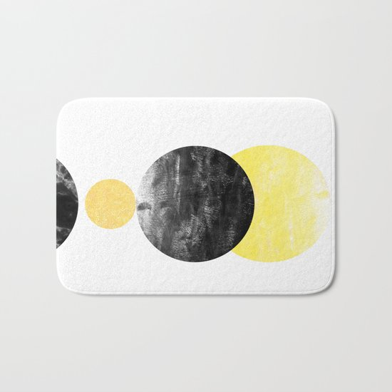 Geller - modern minimal abstract painting white and black gold foil glitter sparkle hipster trendy  Bath Mat