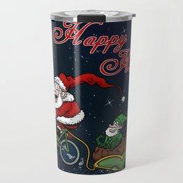 Santa on bike Travel Mug
