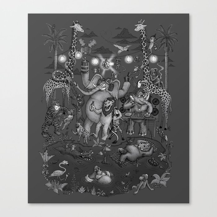 Party Animals - Monotone Version Canvas Print