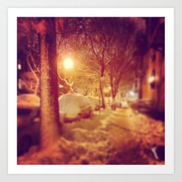 BK under snowfall... Art Print