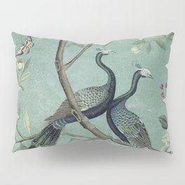 A Teal of Two Birds Chinoiserie Pillow Sham