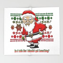 MoCKiNg SaNta Red/Green Background Throw Blanket