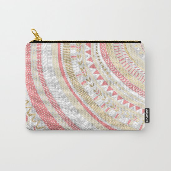Coral + Gold Tribal Carry-All Pouch