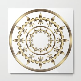 Golden circles Fleur-de-lis royal design. Metal Print