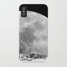 California Dream // Moon Black and White Palm Tree Fantasy Art Print iPhone Case