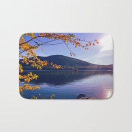 Fall Foliage at Moose Pond in Bridgton, Maine Bath Mat